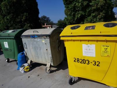 Nádoby na zmesový odpad, sklo a plasty, Tunežice