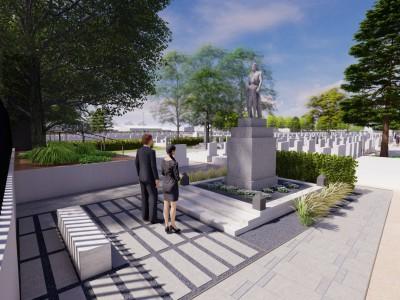 Vyčistený pamätník s upraveným okolím