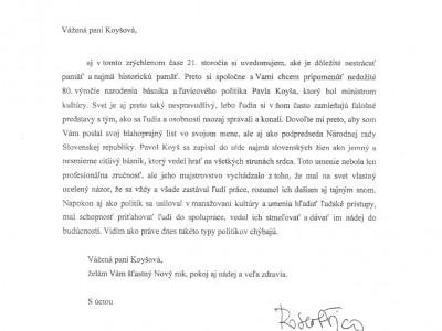 List predsedu vlády k výročiu Pavla Koyša 2012